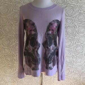 CHASER Lavender Sweatshirt Sweater with Skulls